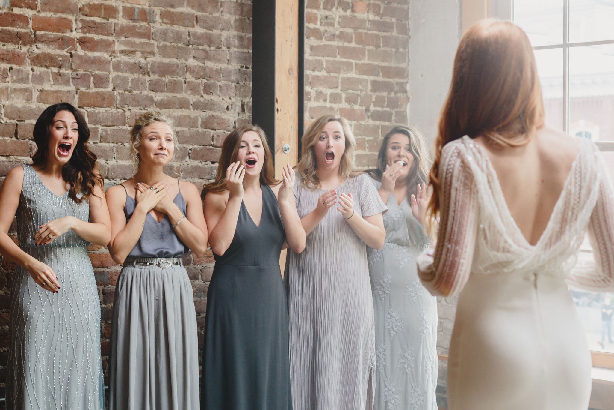 First Look with Bridesmaids | Autumn Tennessee Wedding in Knoxville