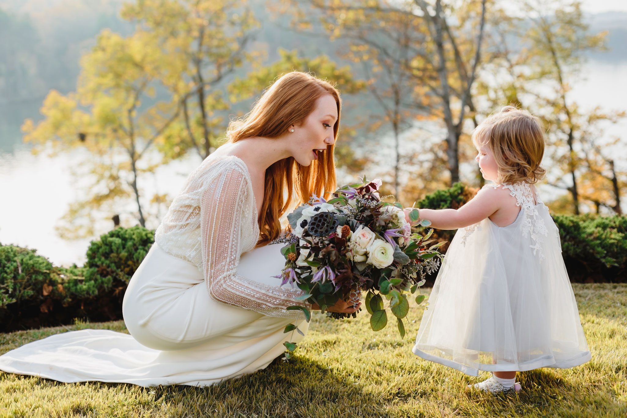 Bride & Flowergirl | Autumn Tennessee Wedding in Knoxville