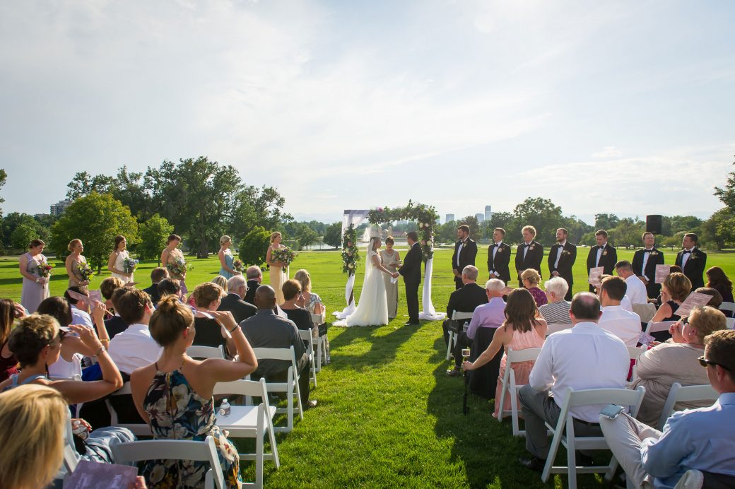 Wedding ceremony at the Rose Garden at Denver City Park, Colorado