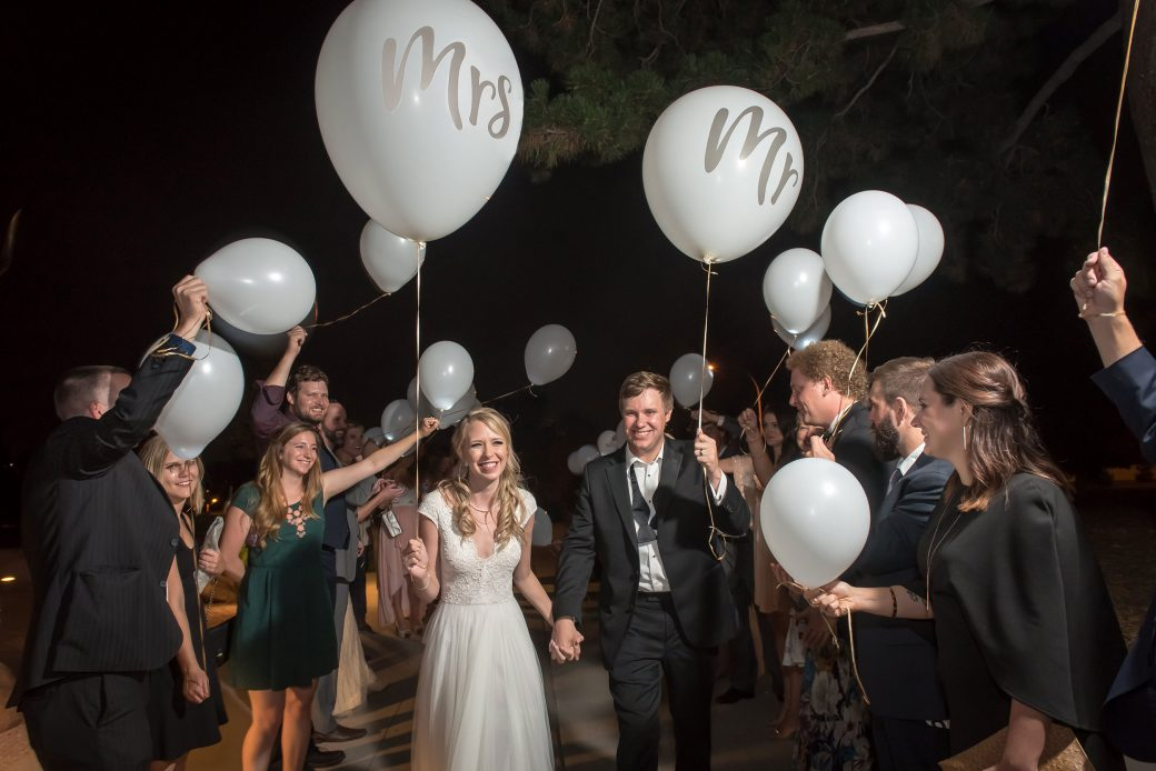 wedding exit with balloons