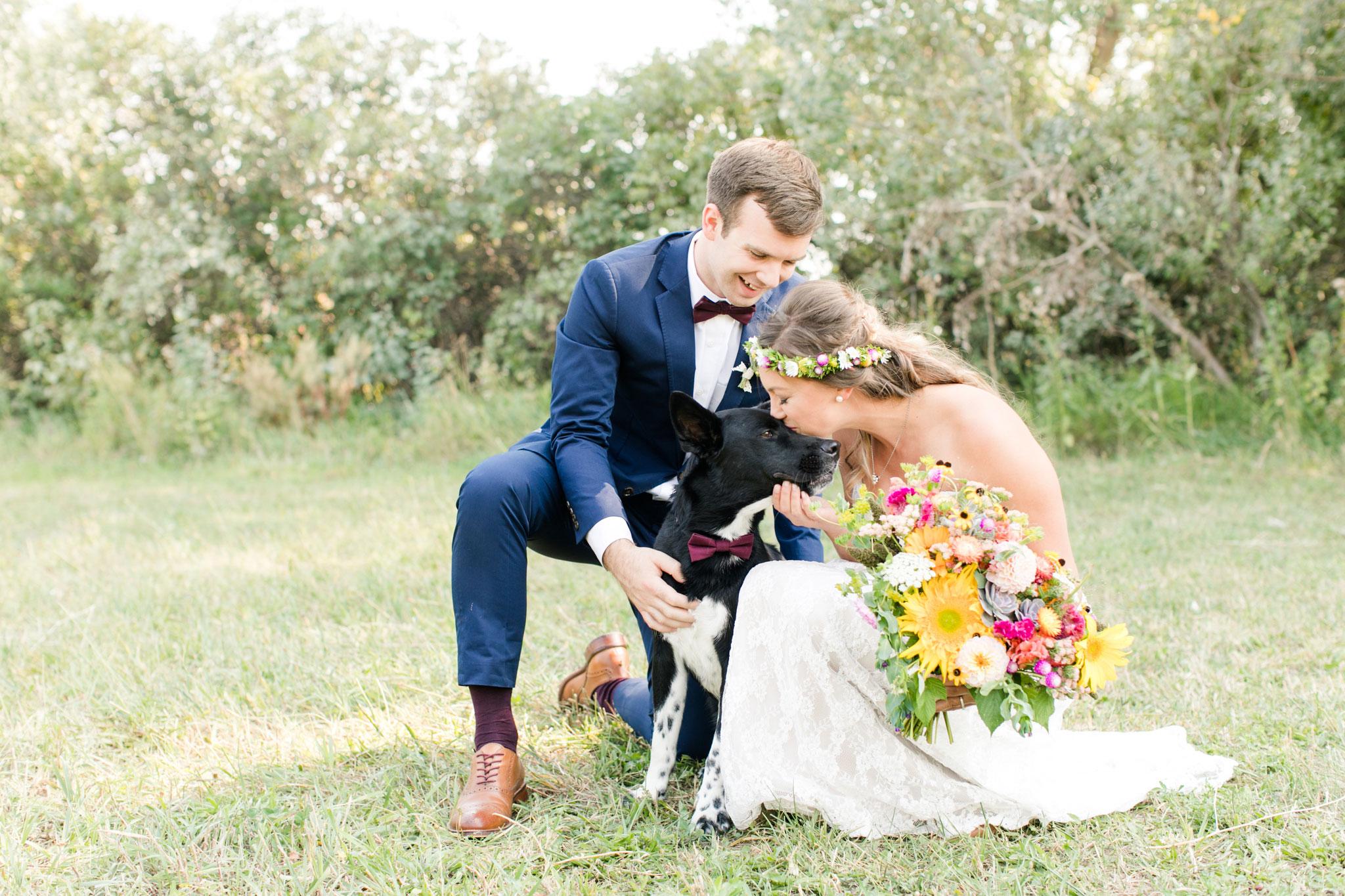 Bride + Groom + Dog | A Boho Garden Wedding in Colorado