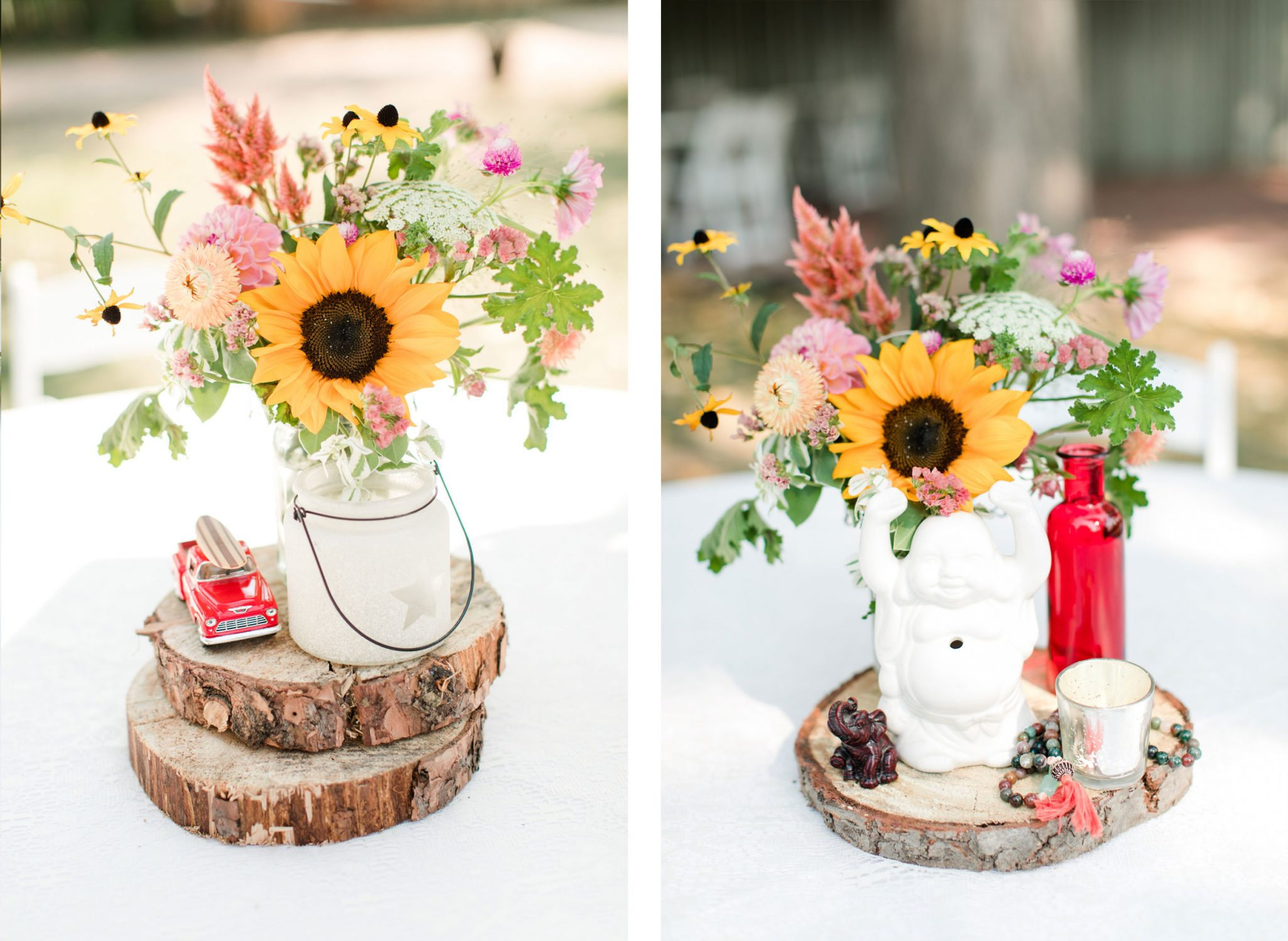 Table Centerpieces | A Boho Garden Wedding in Colorado