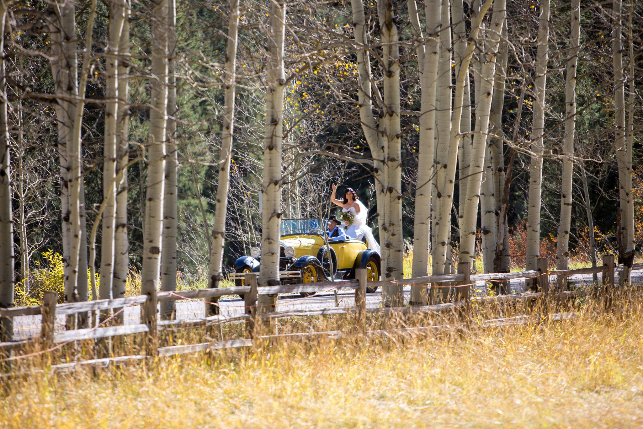 Bride arrives to the Ceremony | A Fall Aspen Wedding at T Lazy 7 Ranch, Colorado