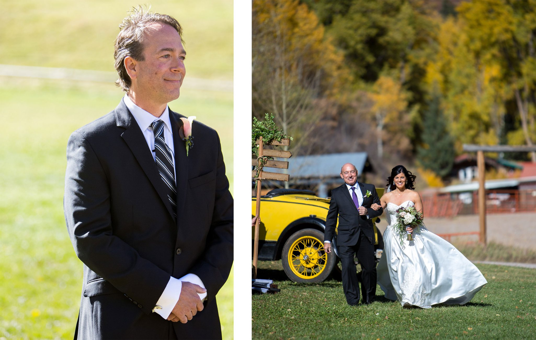 Walking down the aisle | A Fall Aspen Wedding at T Lazy 7 Ranch, Colorado