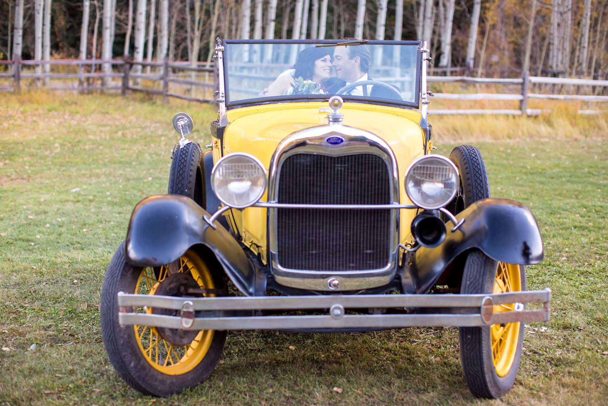 1929 Ford roadster | A Fall Aspen Wedding at T Lazy 7 Ranch, Colorado