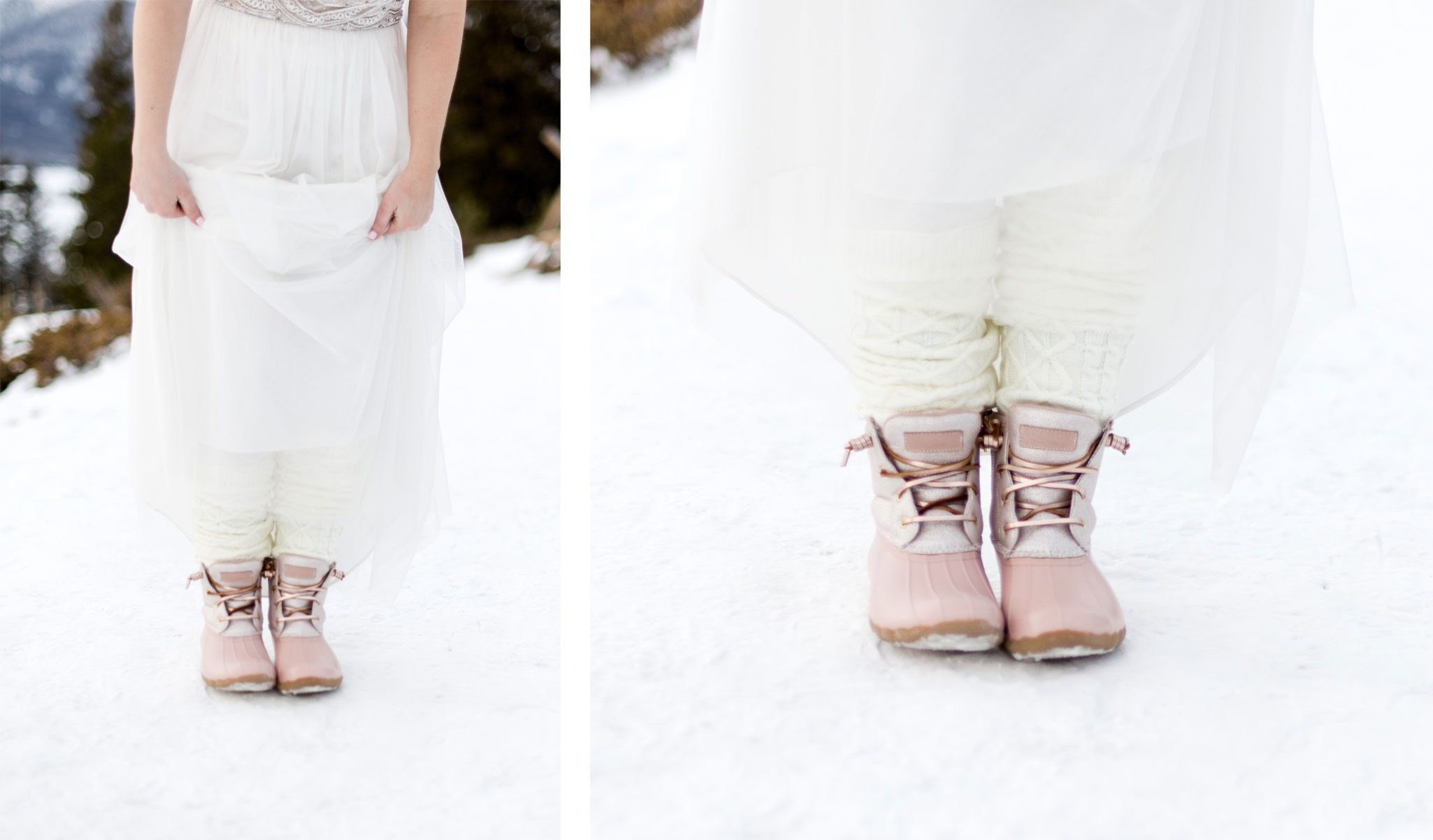 Pink wedding boots for an elopement in the snow