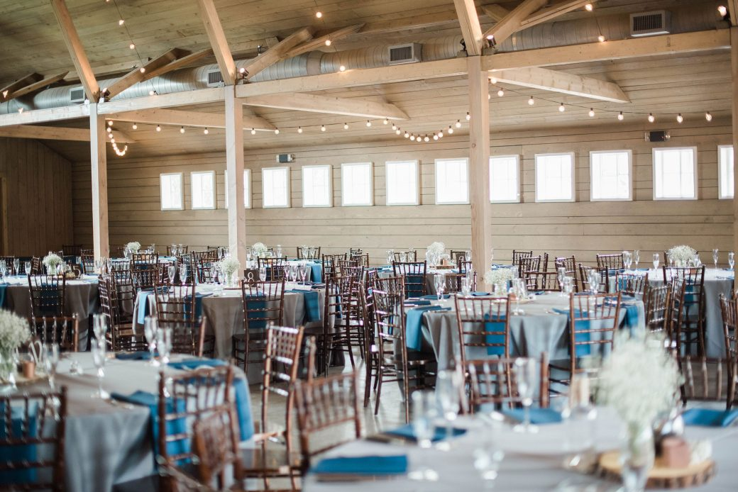 Reception space at The Barn at Raccoon Creek