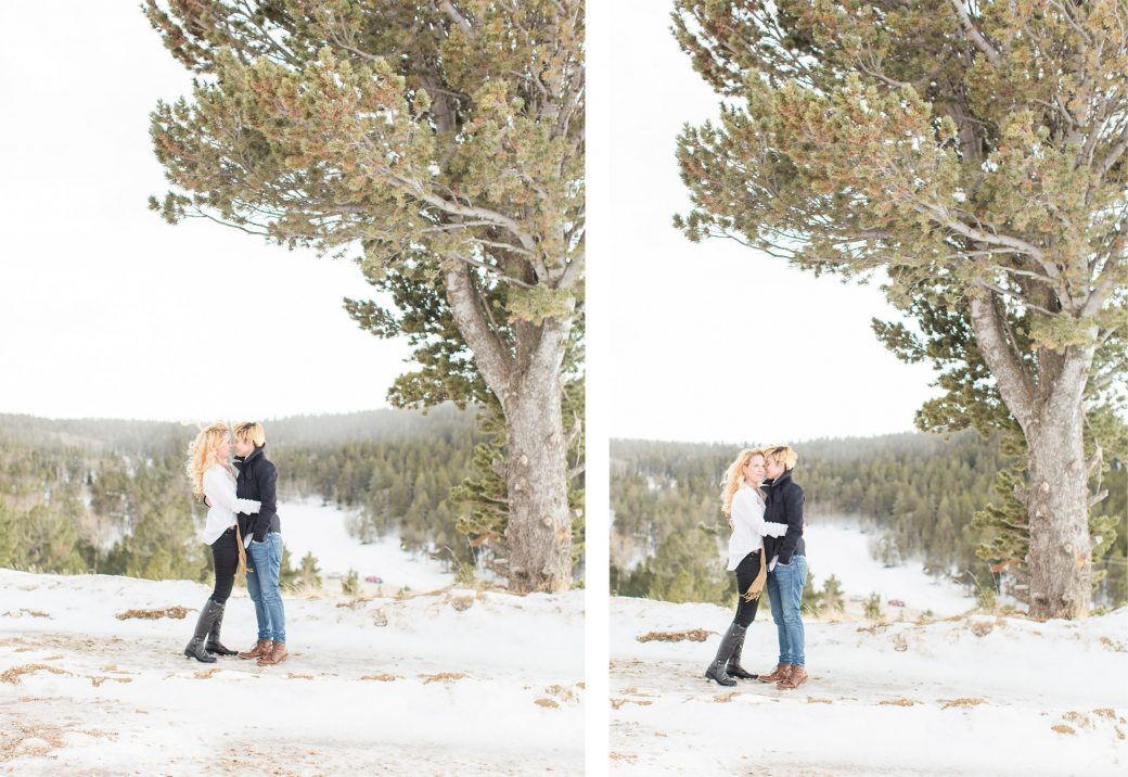 A winter engagement in Wyoming for two ladies in love
