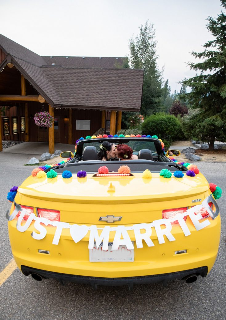 Yellow car with Just Married sign