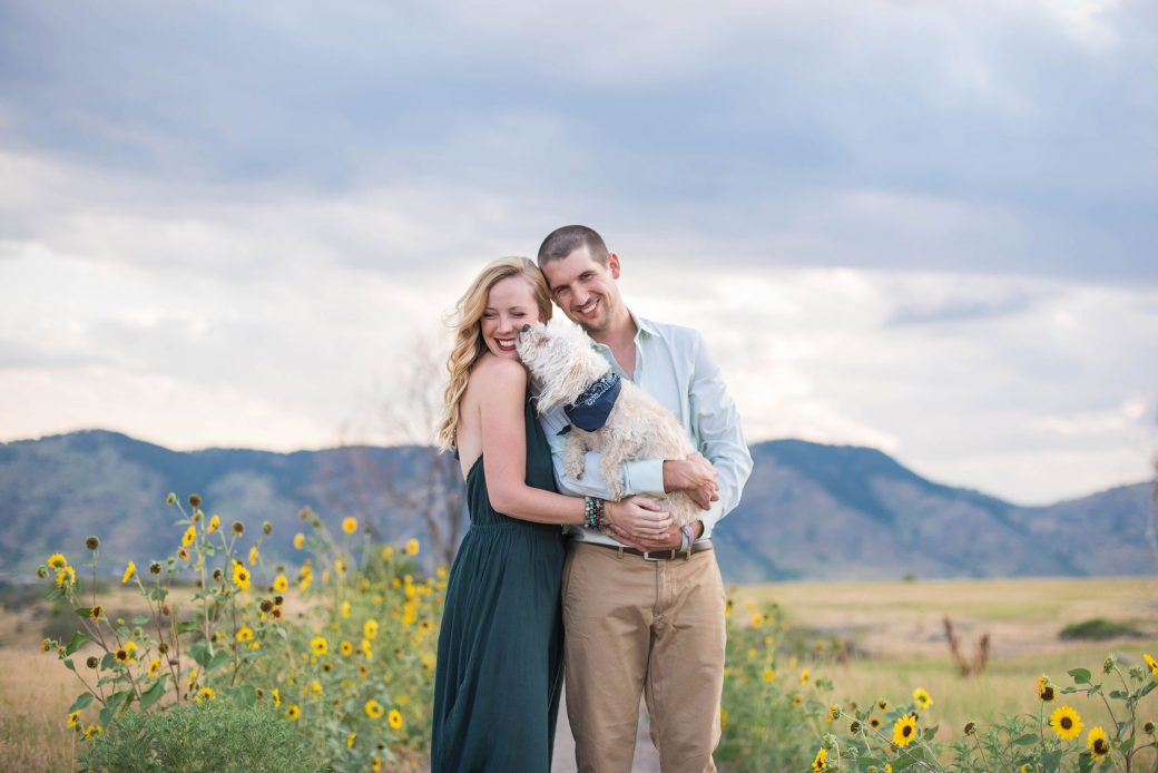 A Fun Engagement Session in the sunflowers in Colorado