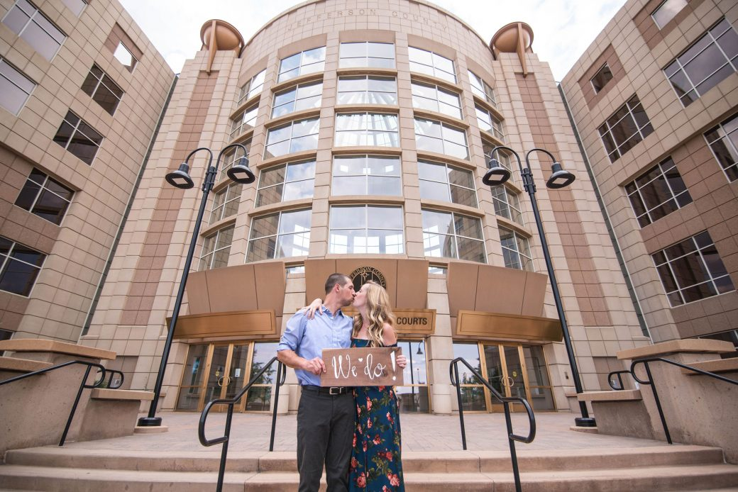 A Fun Engagement Session in Colorado in front of Jefferson County courthouse