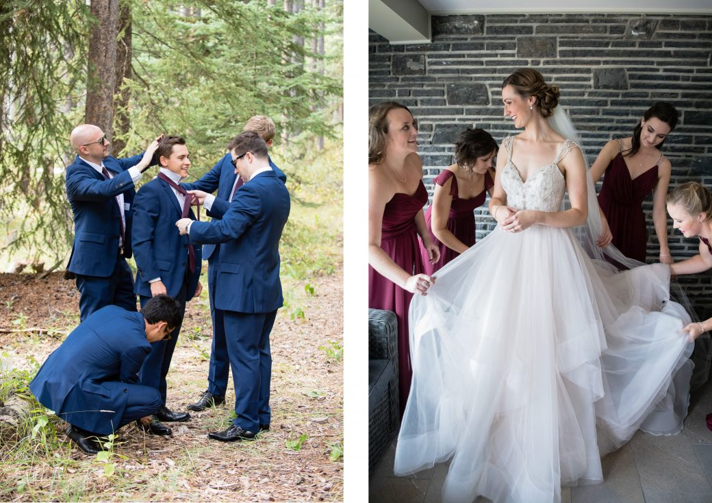 Bride + Groom getting ready | A Beautiful Mountain Wedding in Banff, Alberta,Canada