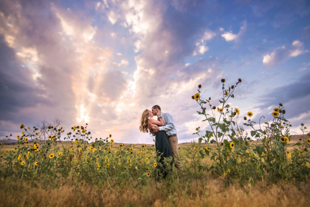 A Fun Engagement Session in Colorado in the sunflowers
