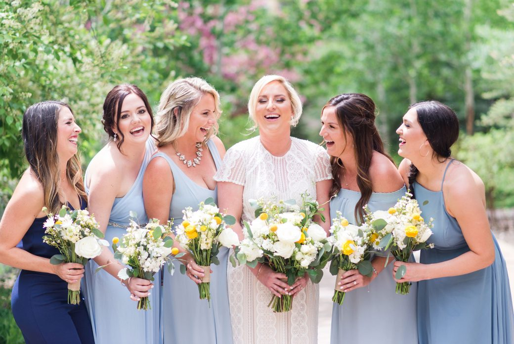 Bridesmaids in Blue | A Mountain Destination Wedding in Vail, Colorado