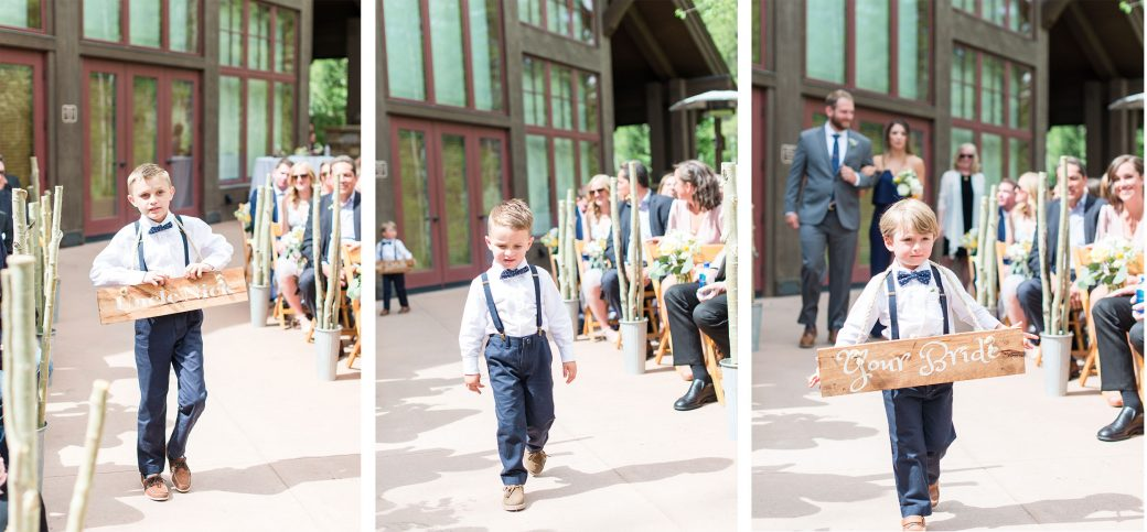Ceremony aisle ringbearers | A Mountain Destination Wedding in Vail, Colorado