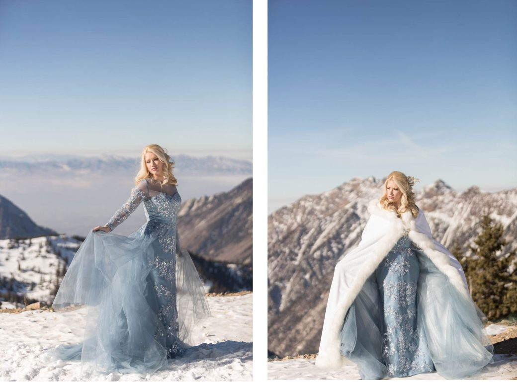 Blue gown | Winter Wedding Bridal Style at Snowbird, Utah