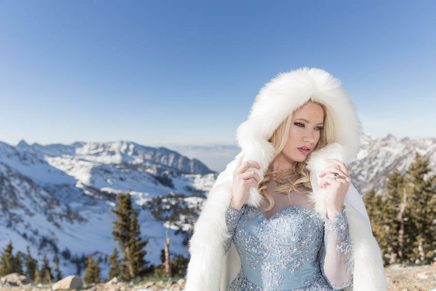 Blue gown + cape | Winter Wedding Bridal Style at Snowbird, Utah