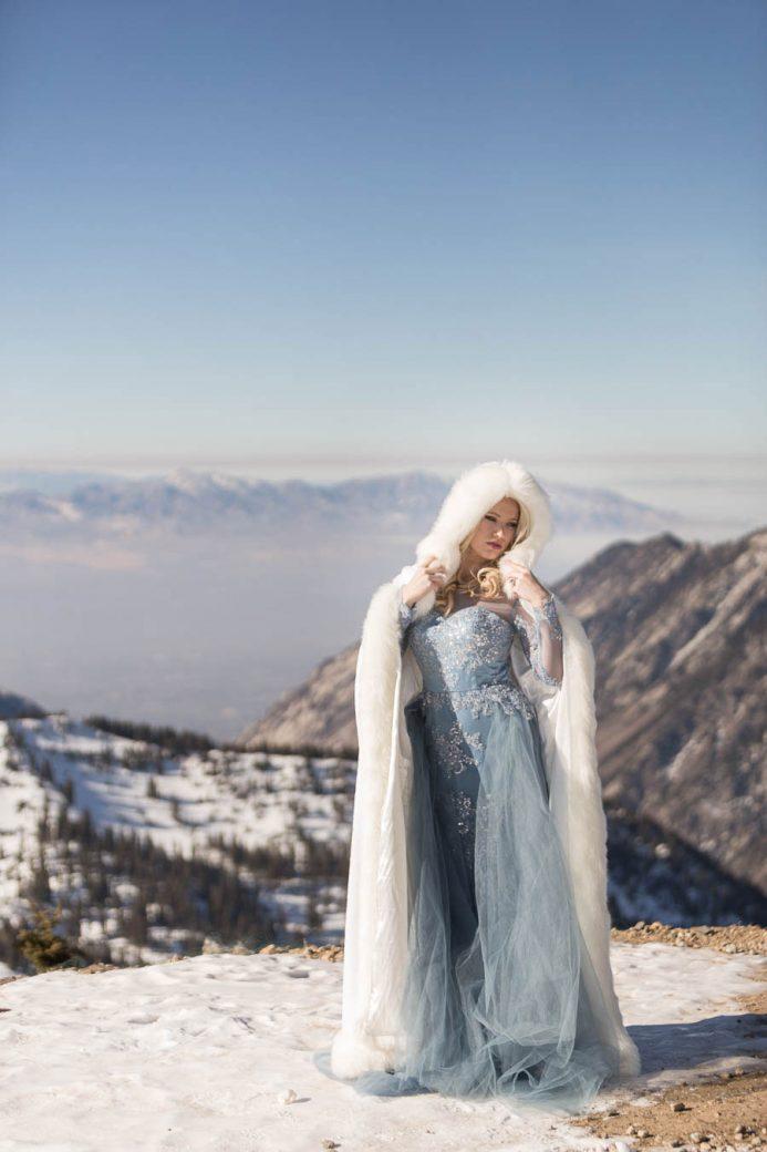 Winter bride in blue dress
