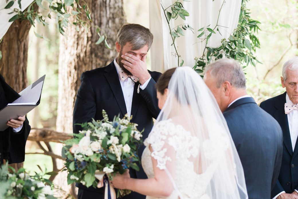 Groom with tears at ceremony | Sophisticated Bluegrass & Craft Beer Mountain Wedding in Asheville, North Carolina