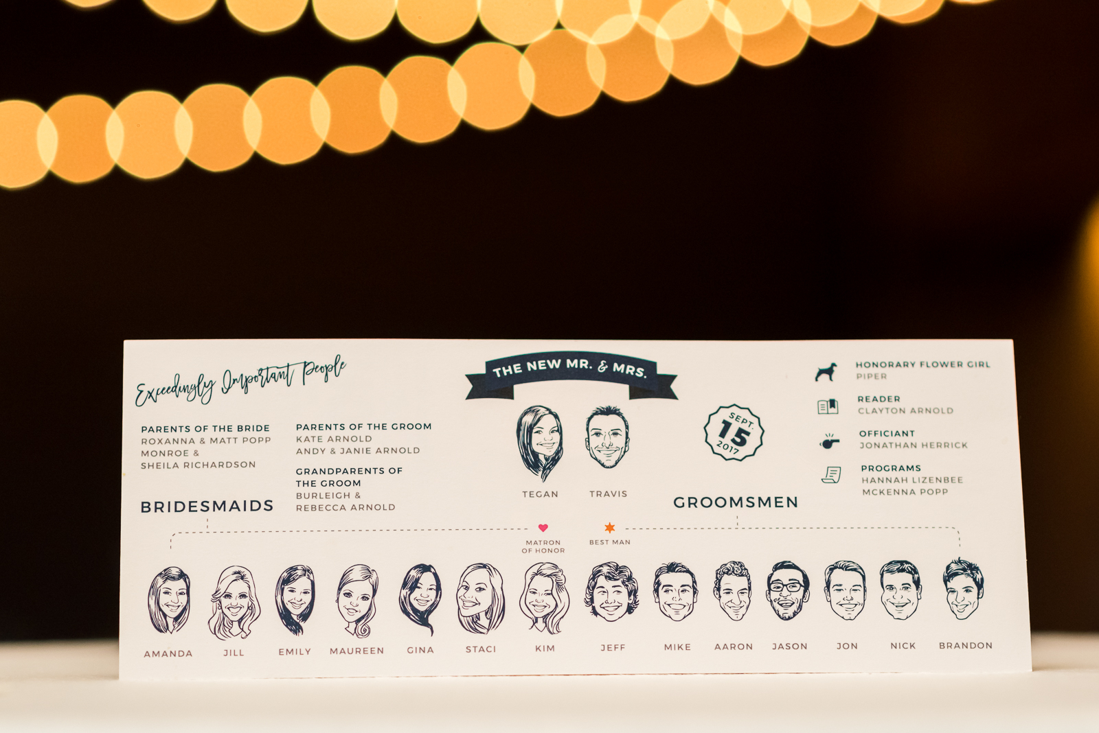 Ceremony program with caricatures of the wedding party | Luxe Mountain Weddings Colorado