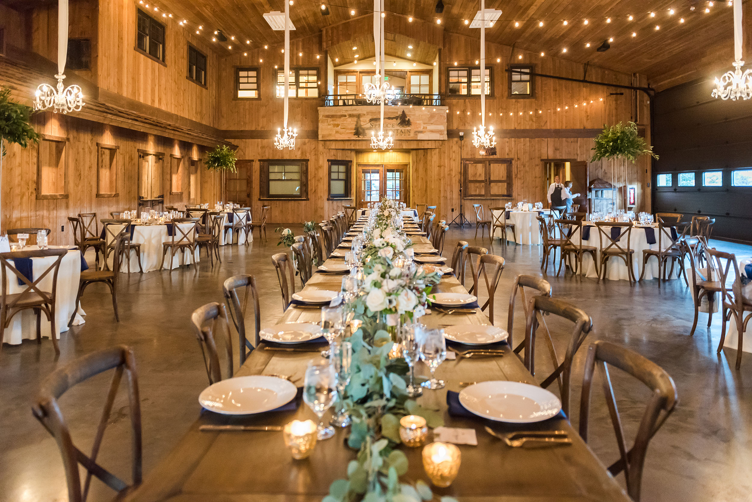 Spruce Mountain Ranch reception decor | Luxe Mountain Weddings Colorado