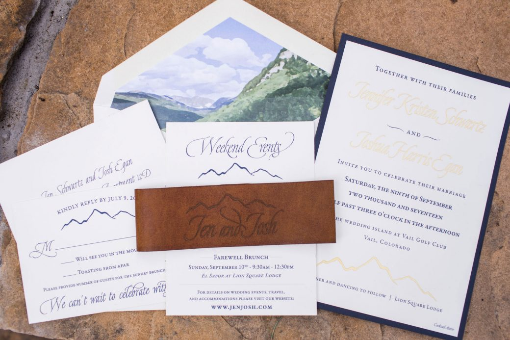 Mountain invitations for a Vail wedding | Luxe Mountain Weddings