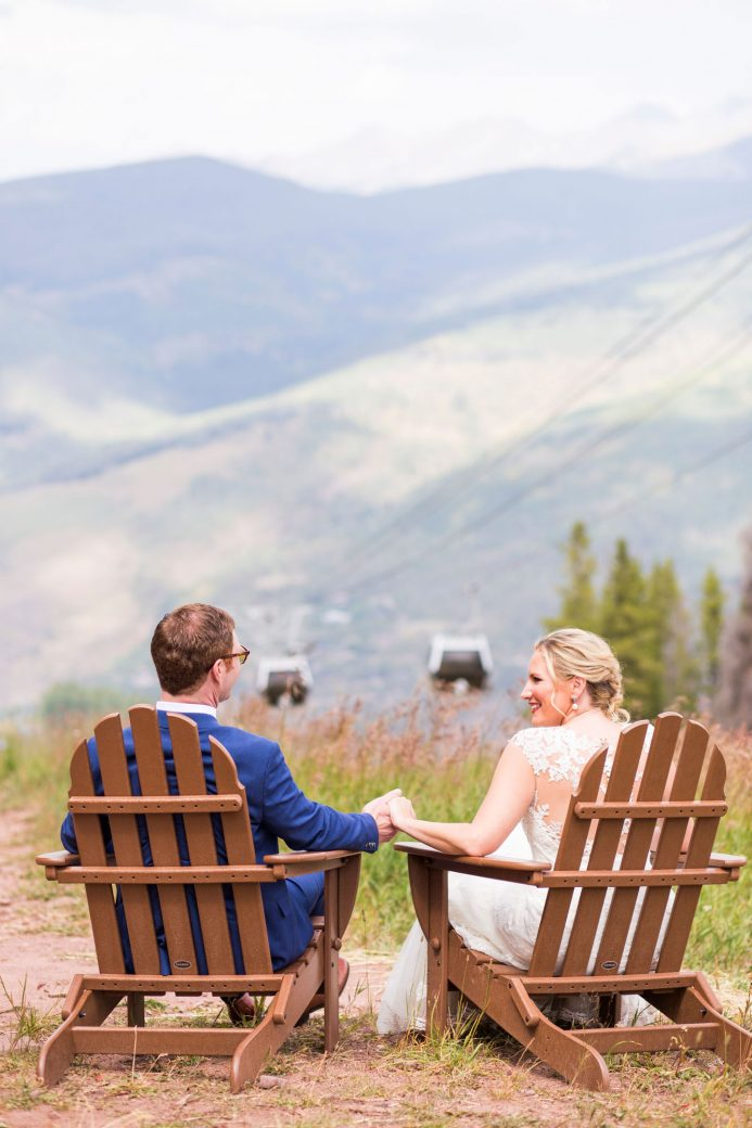 Bride & groom on Vail Mountain | Luxe Mountain Weddings