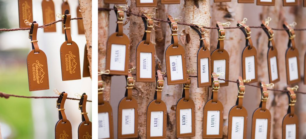 Leather luggage escord card tags | Luxe Mountain Weddings