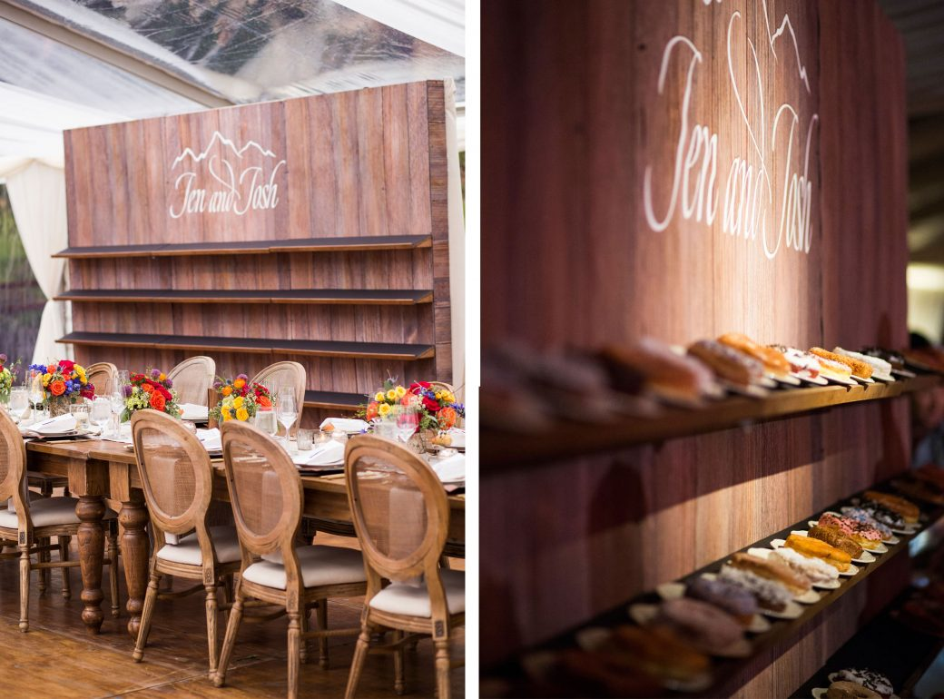 Donut wall at a Luxe tent reception in Vail, Colorado | Luxe Mountain Weddings