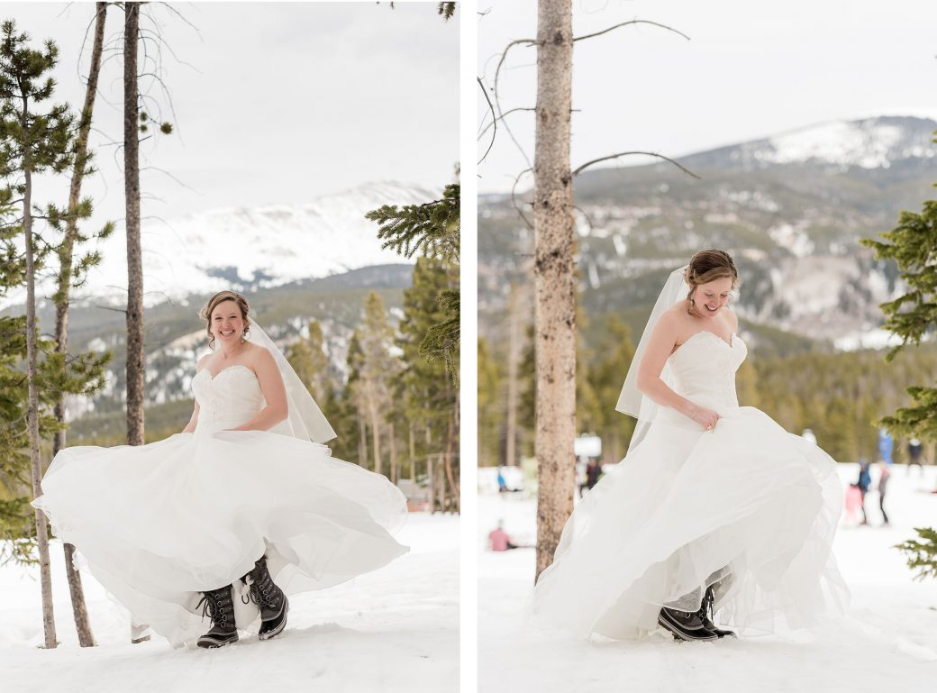 Bride in snow boots at Breckenridge Ski Resort
