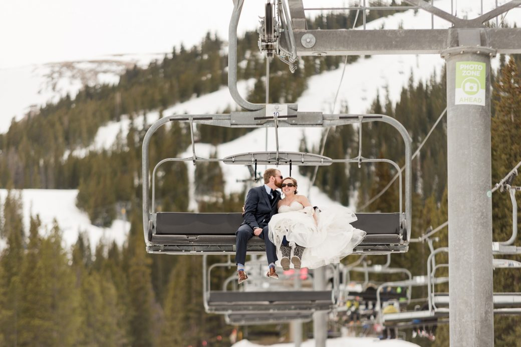 Bride & Groom on the chair lift at Breckenridge Ski Resort, Colorado