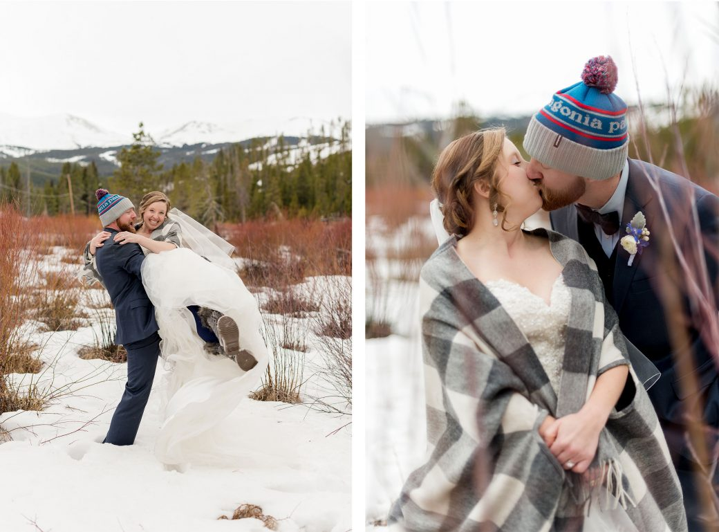 Bride & Groom in the snow at Breckenridge, Colorado