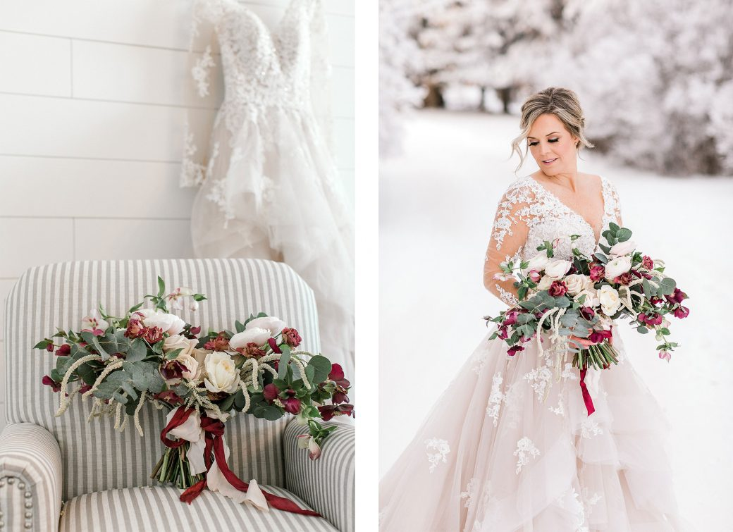 A snow covered landscape is the backdrop for this Huxley, Alberta styled shoot in the countryside.