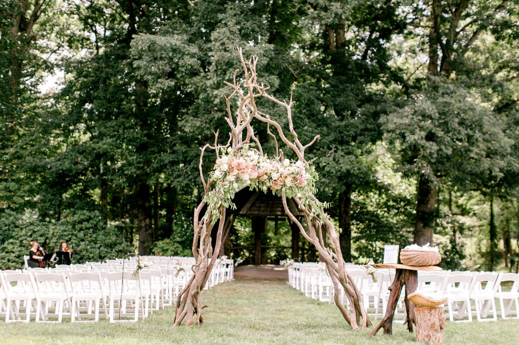 Ceremony with Mountain laurel arch