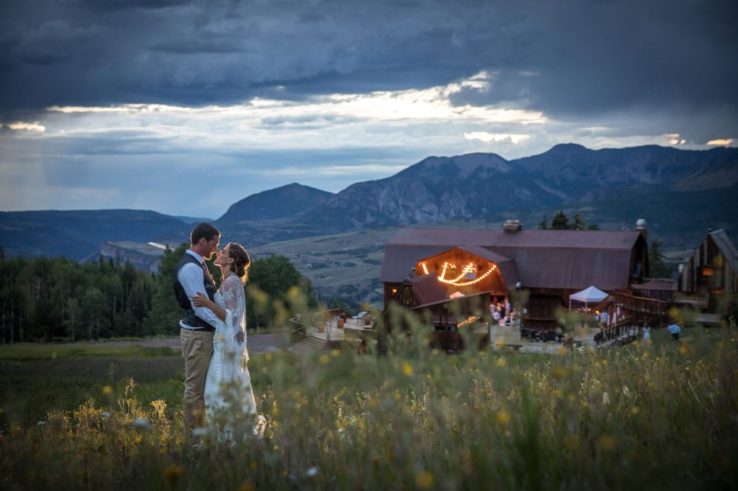Evening kiss in the mountains of Telluride, Colorado