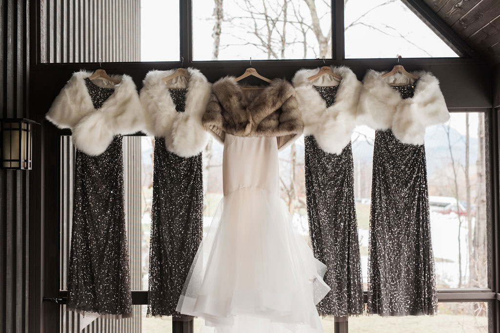 Luxe dresses for a New Years Eve Wedding in Vermont