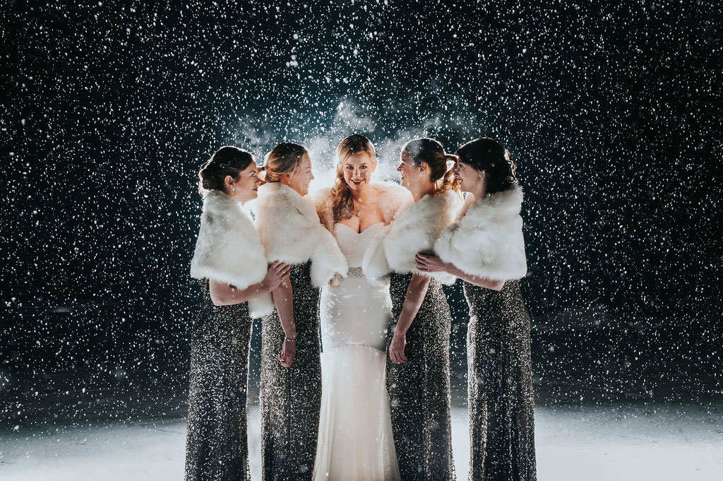 Luxe bridesmaids | New Years Eve Wedding in Vermont