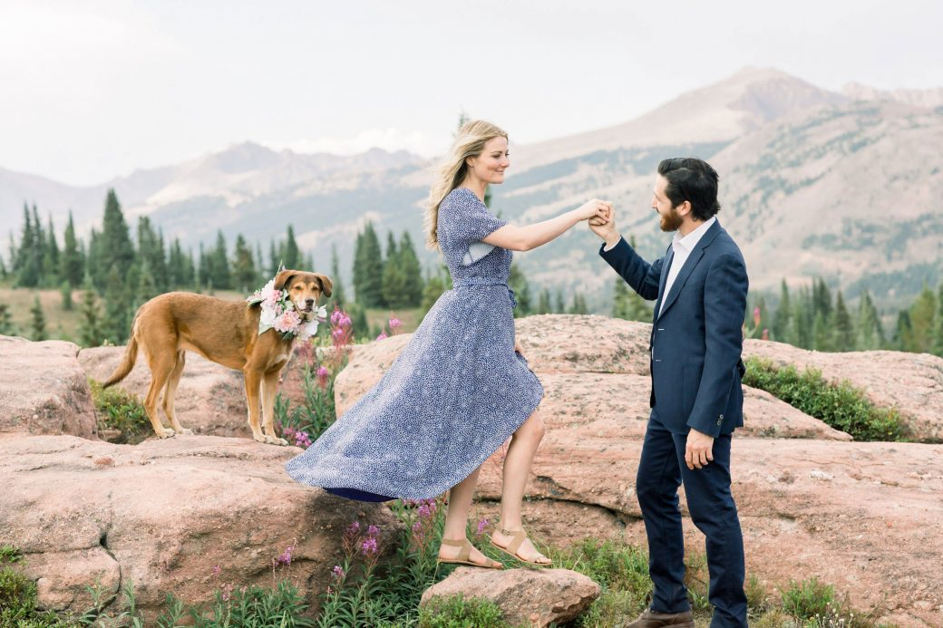 Engagement photos on Shrine Mountain, Vail, Colorado