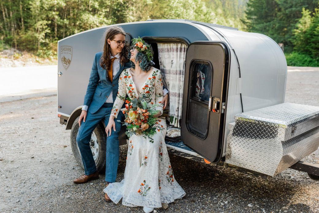 Bride + Groom + trailer