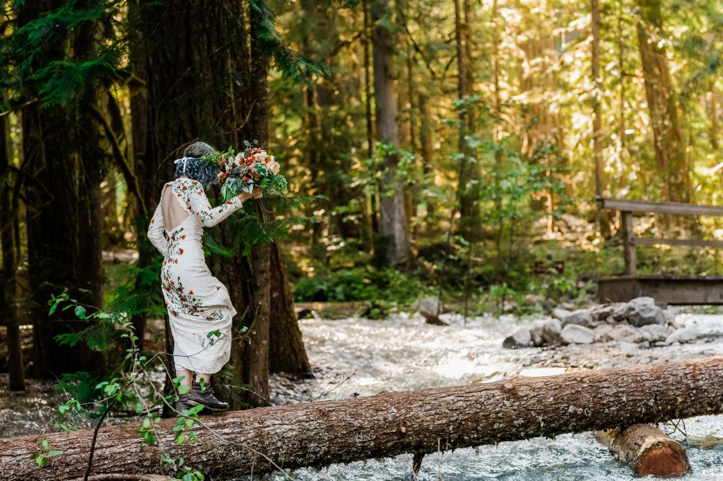 Happy bride in the mountains