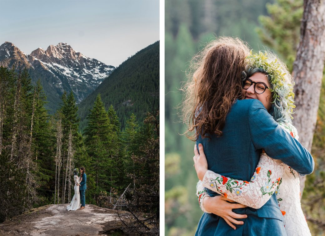 Bride & groom in the Cascade Mountains