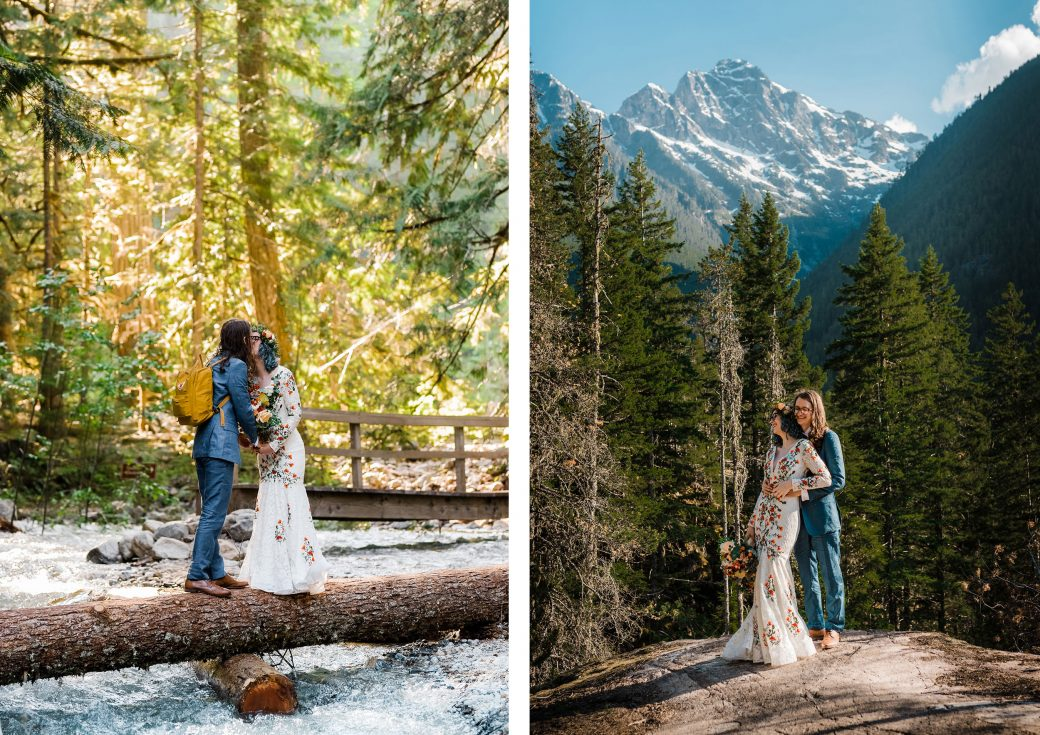Bride & groom in the Cascades