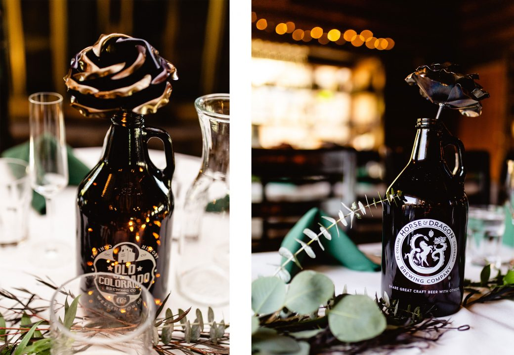 Welded roses in beer growlers