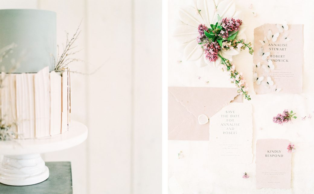 Earthy Cake & Wedding Invitations