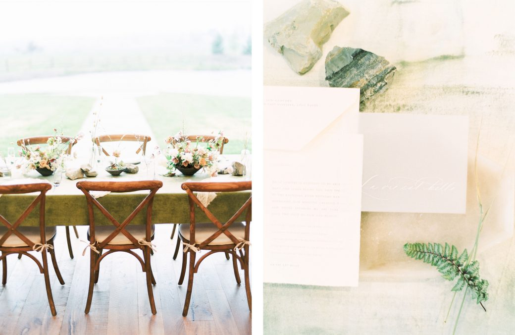 Earthy tablescape & Wedding Invitations
