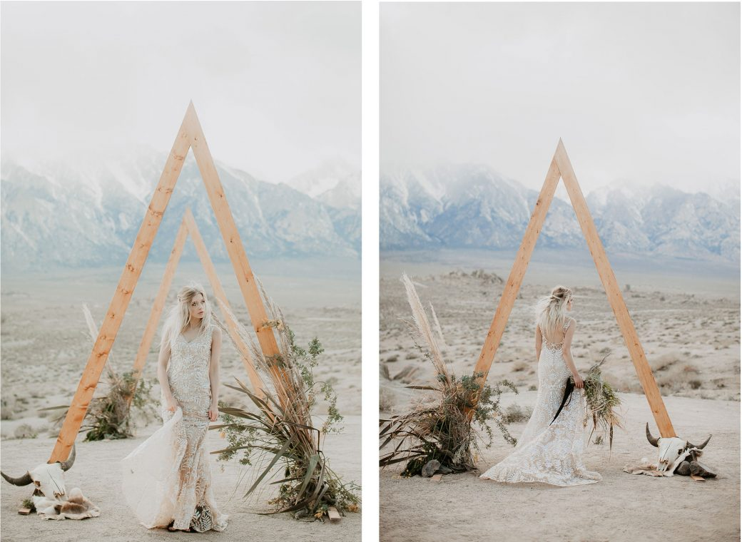 Rugged boho inspiration shoot in the Californian high desert.