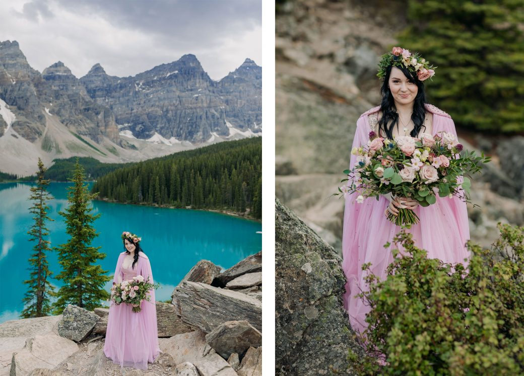 Bride in pink dress at Moraine Lake by ENV Photography