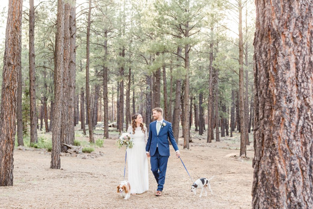 Bride & Grrom with their fur babies in Flagstaff, Arizona