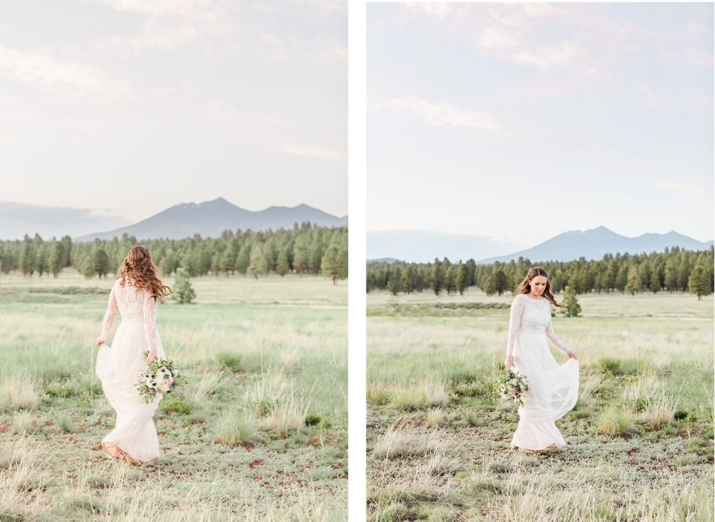 Bride dancing at the edge of a Ponderosa Pine Forest with the majestic Mount Humphreys in the background