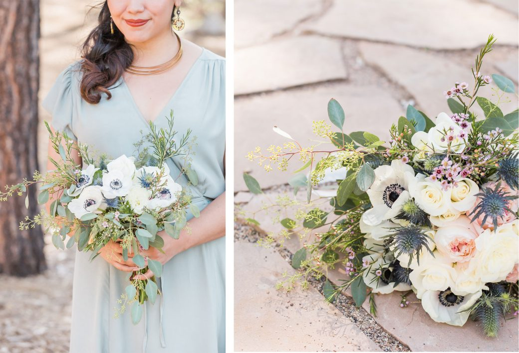 Wedding bouquet with white anemones
